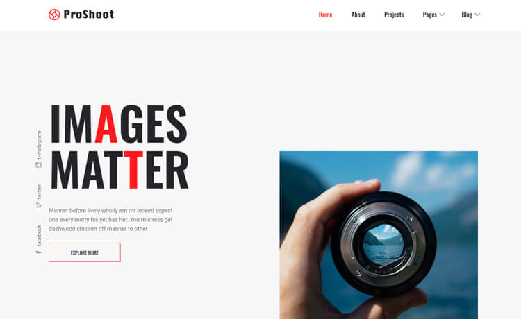 Proshoot-free HTML5 photography website template