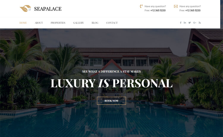 Free HTML5 Bootstrap 4 Hotel Website Template