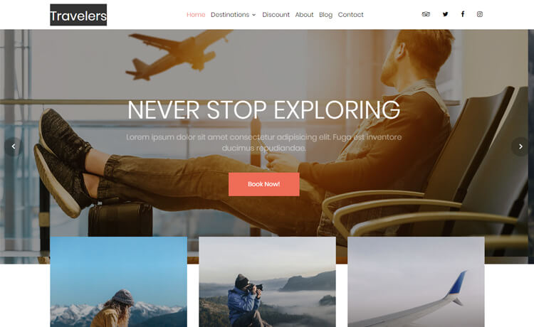 Travelers - Free HTML5 Travel Agency Website Template