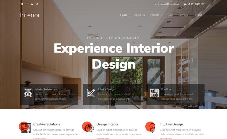 Free HTML5 Bootstrap 4 Interior Designing Agency Website Template