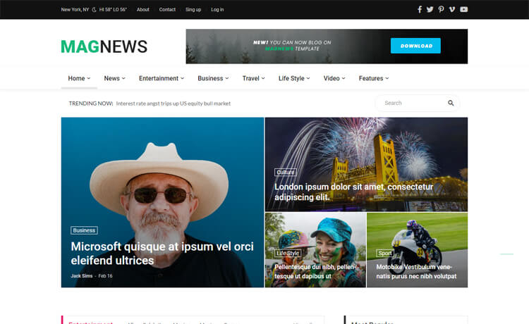 Magnews2-Free Bootstrap 4 HTML5 News Website Template