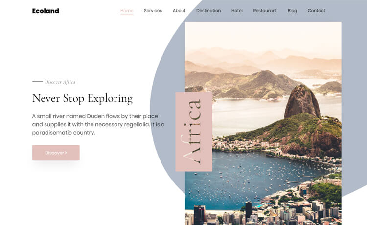 Ecoland- Free HTML5 Bootstrap 4 Travel Agency Website Template