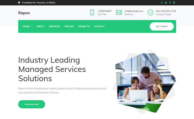Rapoo-Free Bootstrap 4 HTML5 Corporate Website Template