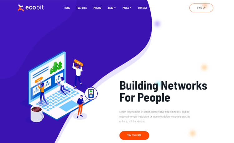 Ecobit-Free Bootstrap 4 HTML5 Landing Page Template