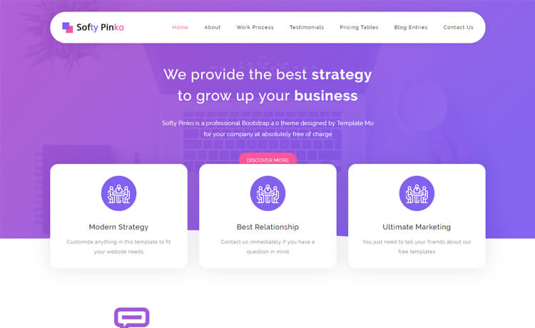 Softy Pinko-Free HTML5 Bootstrap 4 Corporate Business
